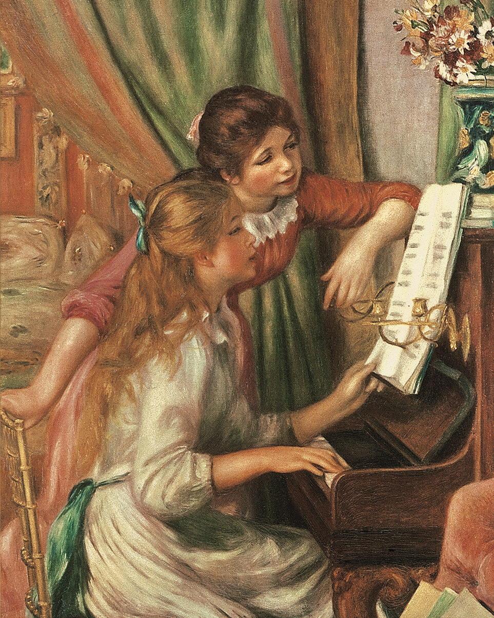 """Kunstdruck """"Zwei Mädchen am Klavier"""" von Auguste Renoir"""