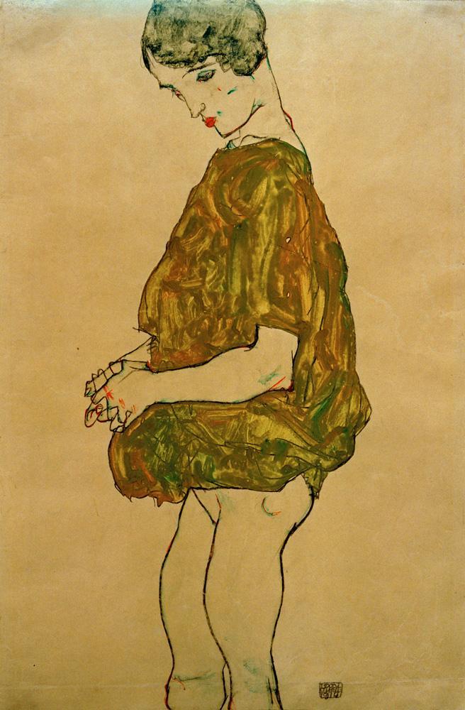"""Egon Schiele """"Stehende mit gefalteten Händen"""" 31 x 48 cm"""