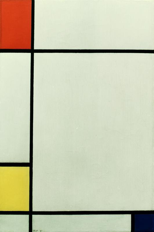 kunstdruck komposition mit rot gelb und blau von piet mondrian. Black Bedroom Furniture Sets. Home Design Ideas