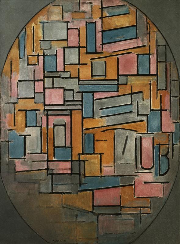"""Piet Mondrian """"Komposition im Oval mit Farbflächen"""" 113 x 84 cm"""