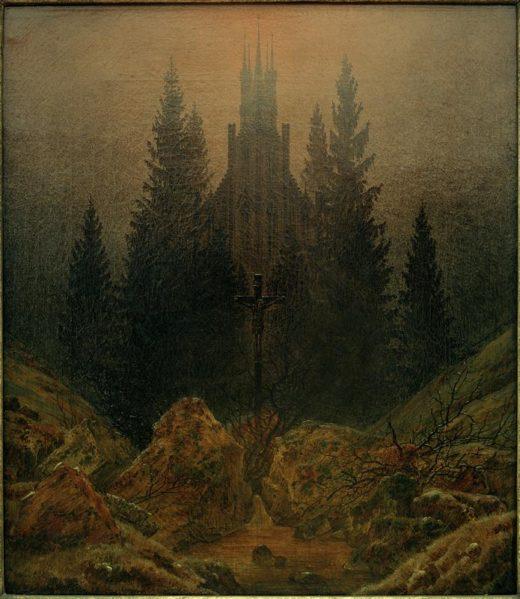 """Caspar David Friedrich """"Das Kreuz im Gebirge""""  37 x 45 cm 1"""