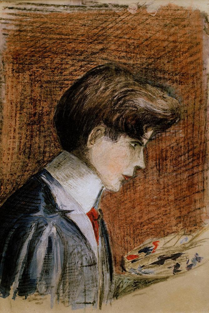 """Egon Schiele """"Selbstbildnis mit Palette"""" 16 x 25 cm"""