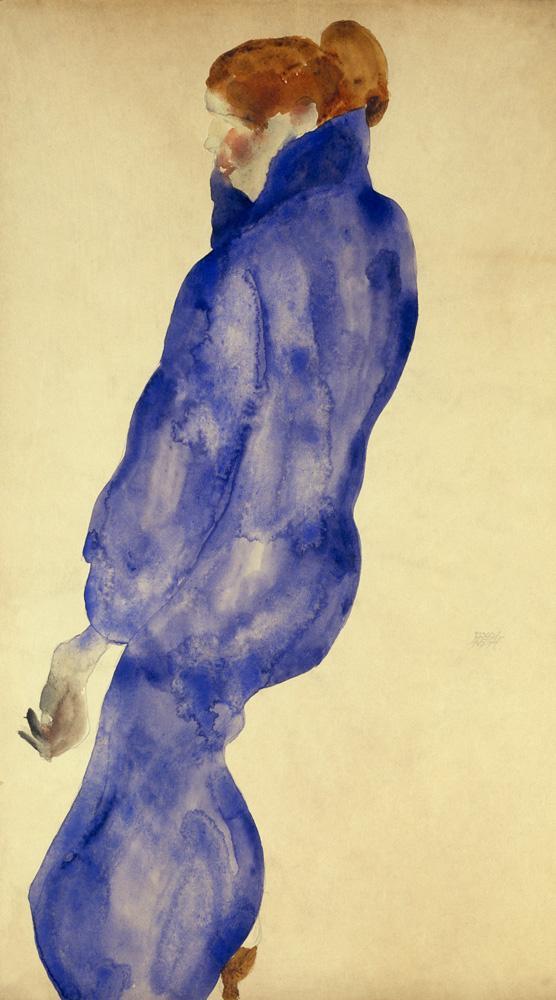 """Egon Schiele """"Frau in einem blauen Kleid"""" 29 x 48 cm"""