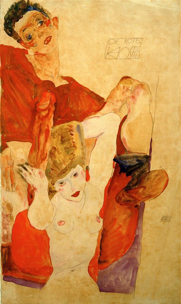 """Egon Schiele """"Die rote Hostie"""" 28 x 48 cm"""