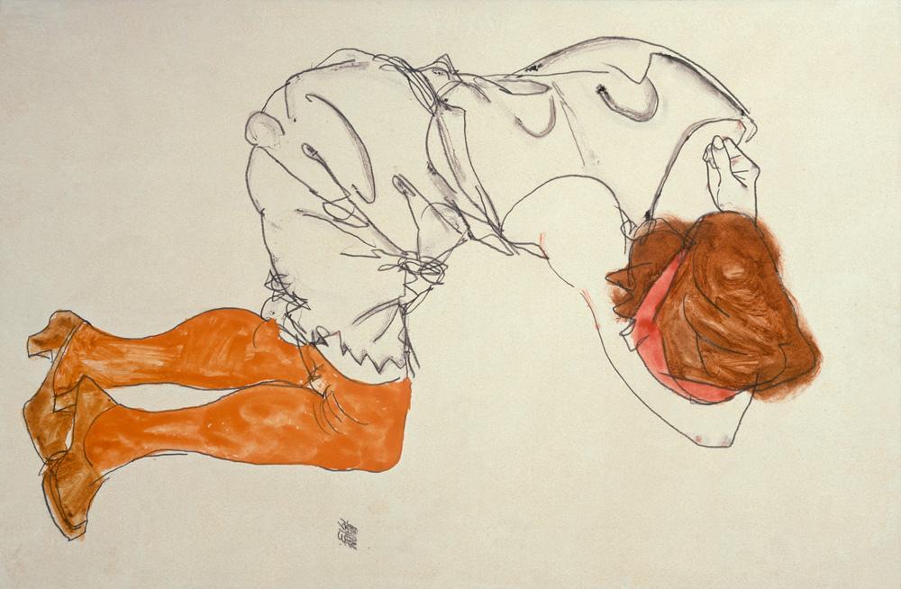 """Egon Schiele """"Das schlafende Mädchen"""" 31 x 48 cm"""