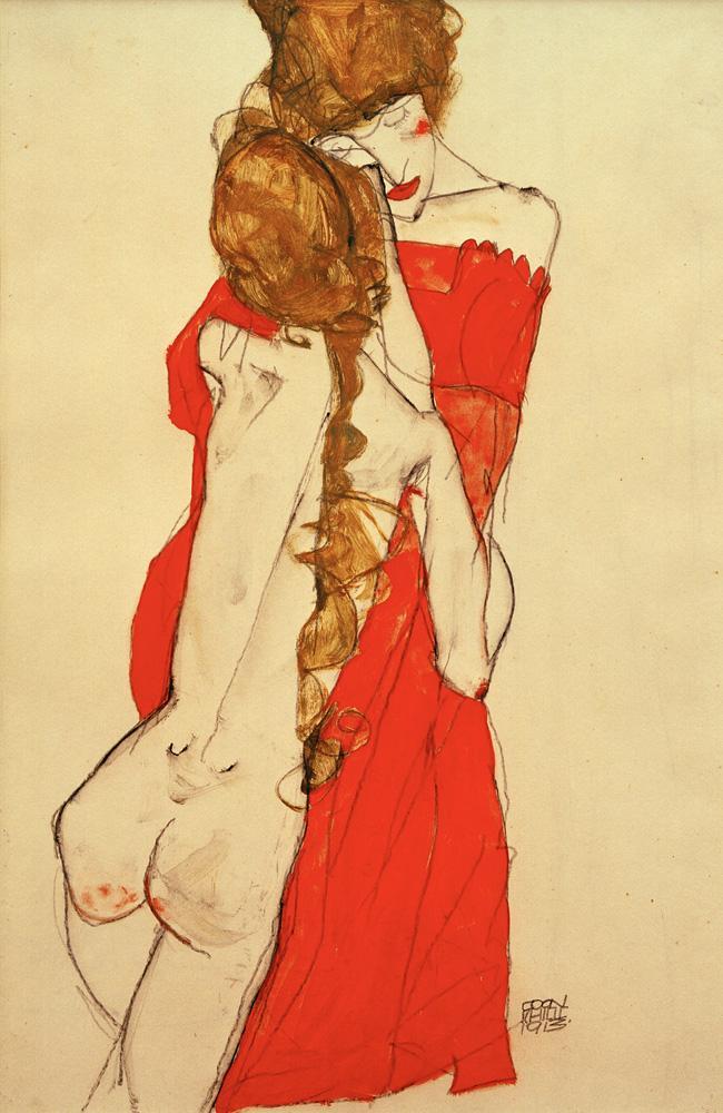 """Egon Schiele """"Mutter und Tochter"""" 31 x 48 cm"""