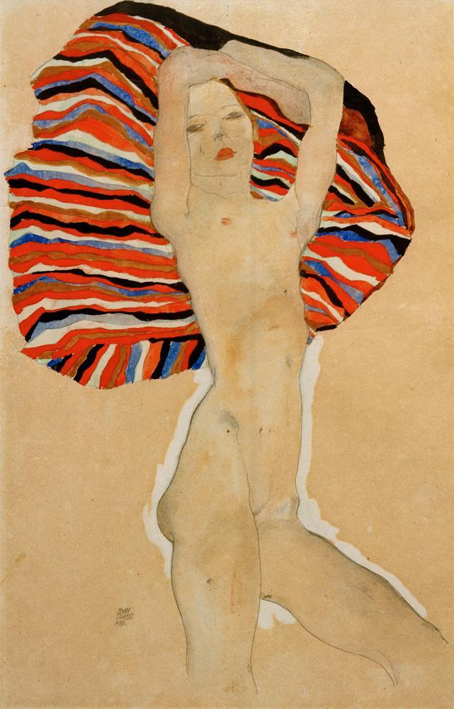 """Egon Schiele """"Mädchenakt gegen farbiges Tuch"""" 31 x 48 cm"""