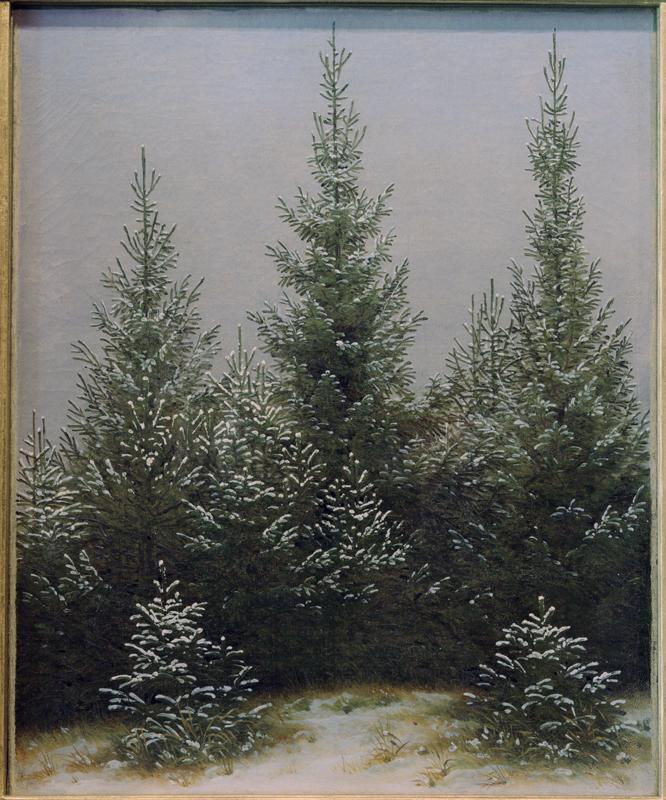 """Caspar David Friedrich """"Fichtendickicht im Schnee""""  24 x 30 cm"""