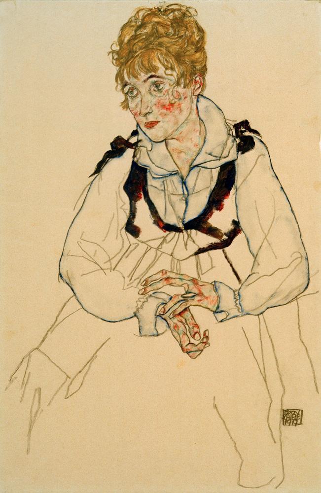 """Egon Schiele """"Die Frau des Künstlers sitzend"""" 30 x 46 cm"""