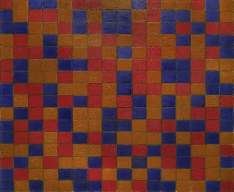 """Piet Mondrian """"Damebrettkomposition dunkle Farben"""" 84 x 102 cm"""