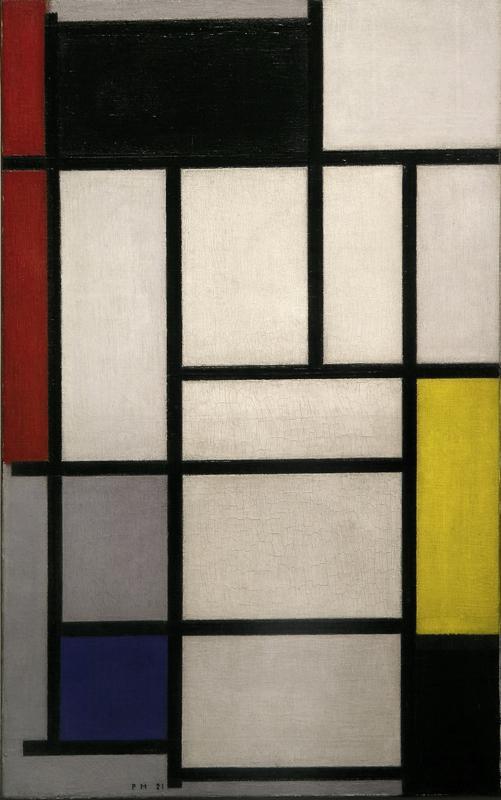 """Piet Mondrian """"Komposition mit Rot Schwarz Gelb  Blau und Grau"""" 80 x 50 cm"""