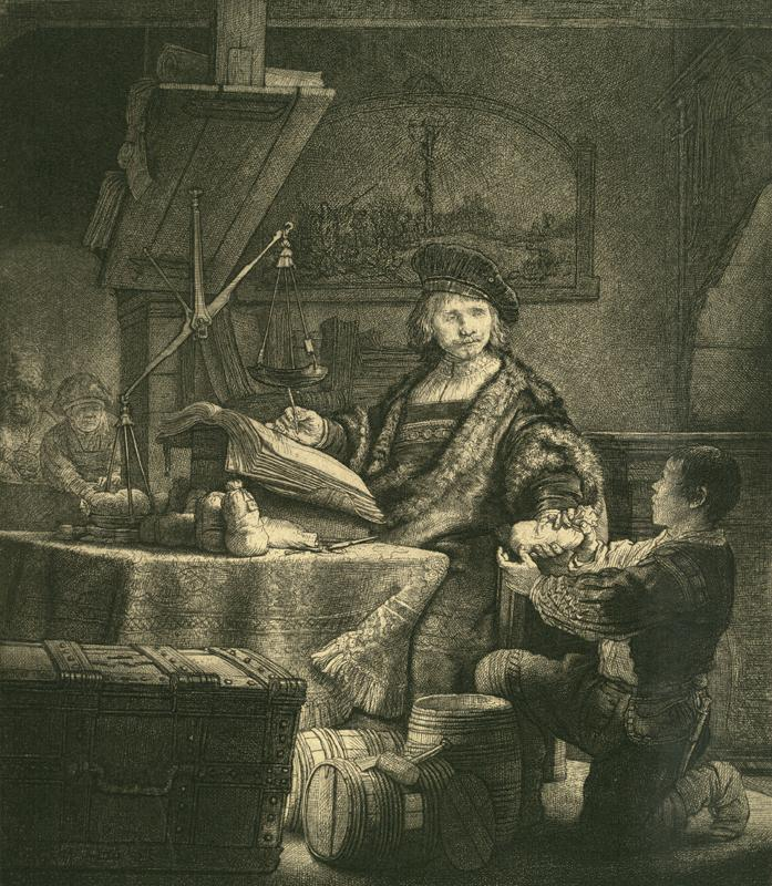 "Rembrandt ""Jan-Uijtenbogaert-genannt-der-Goldwäger"" 18.2 x 24.5 cm"