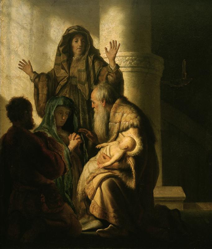 """Rembrandt """"Hanna-und-Simeon-im-Tempel"""" 117 x 91 cm"""