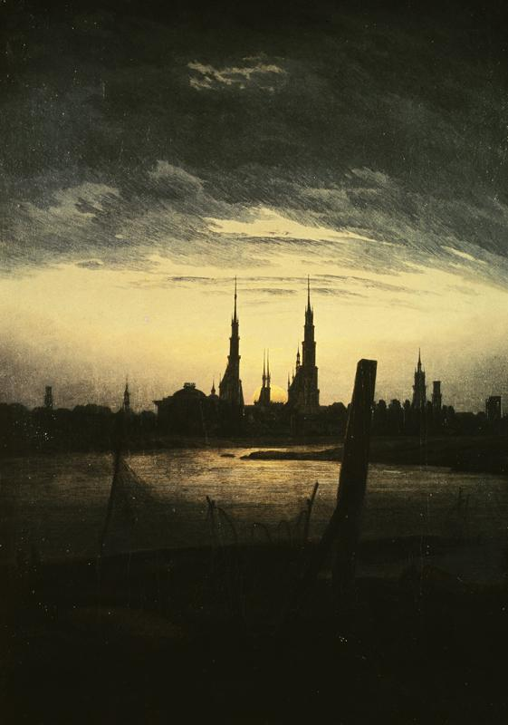 "Caspar David Friedrich ""Stadt bei Mondaufgang""  32 x 45 cm"