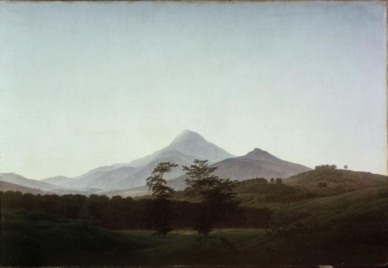 """Caspar David Friedrich """"Böhmische Landschaft mit dem großen und kleinen Milleschaue""""  104 x 70 cm"""