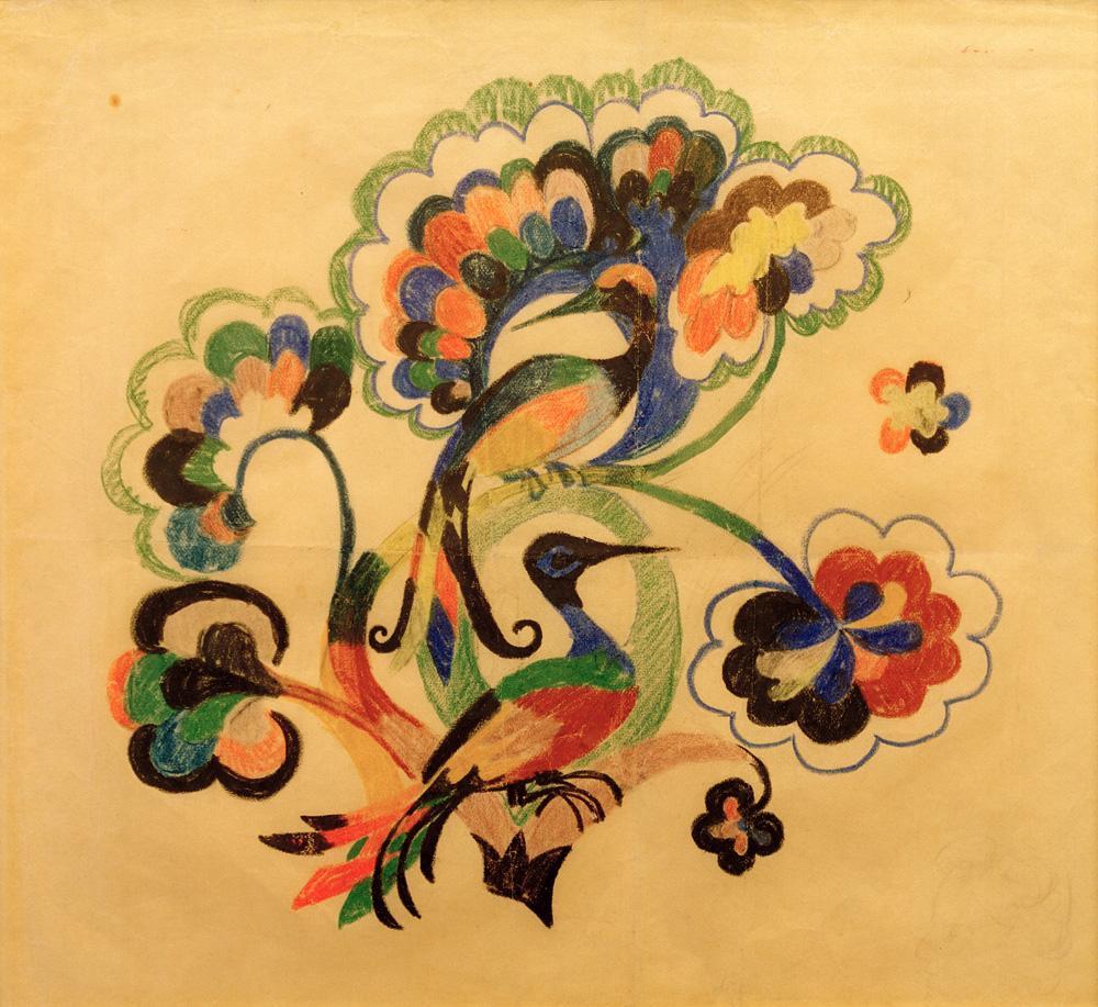 """August Macke """"Bunte Vögel in Bäumen, Entwurf für Stickerei"""" 32 x 27 cm"""