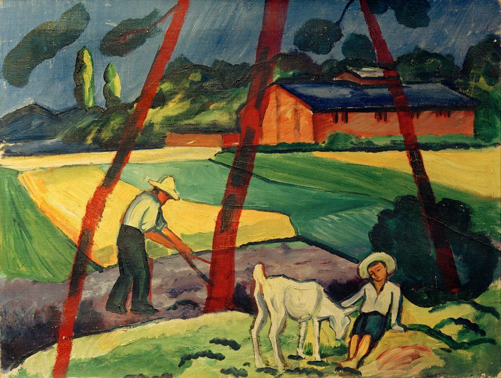 """August Macke """"Landschaft mit Bauer, Junge und Ziege"""" 69 x 53 cm"""