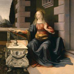"Leonardo da Vinci ""Maria (Ausschnitt aus Die Verkündigung)"" 98 x 98 cm"