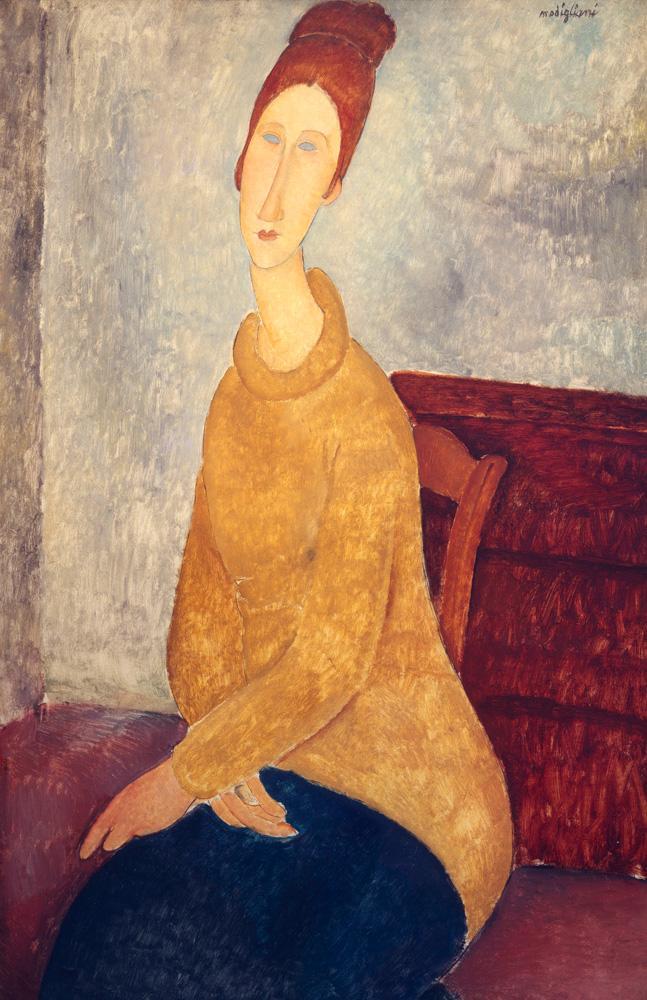 "Amedeo Modigliani ""Jeanne Hebuterne mit gelbem Sweater"" 100 x 65""cm"