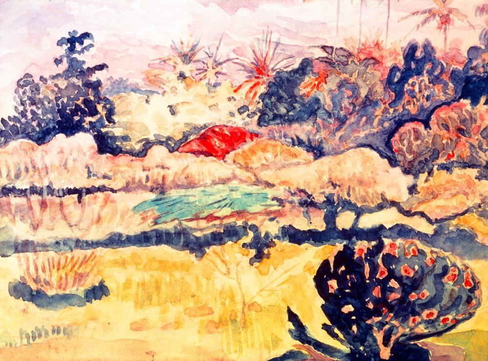 """Paul Gauguin """"Tahitianische Landschaft""""  29 x 23 cm"""