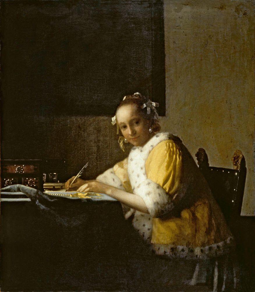 """Jan Vermeer """"Briefschreiberin in Gelb"""" 40 x 45 cm"""