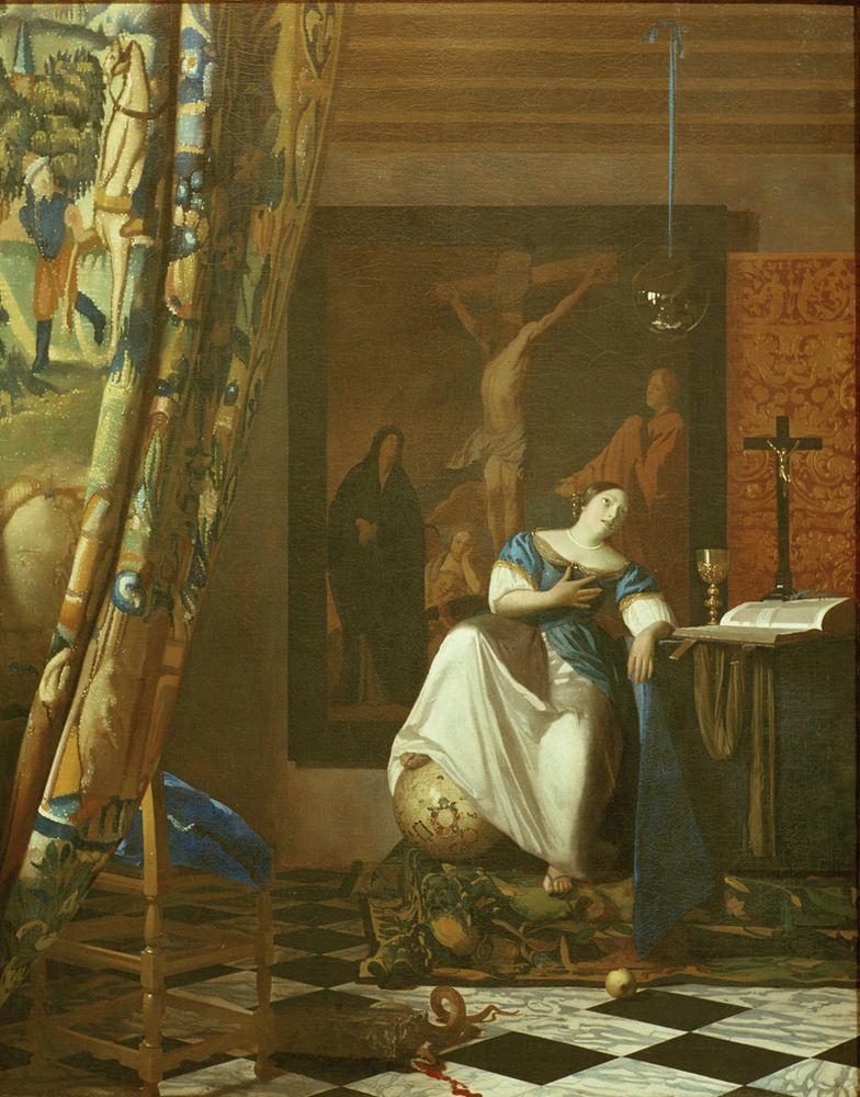 """Jan Vermeer """"Allegorie des Glaubens"""" 89 x 114 cm"""