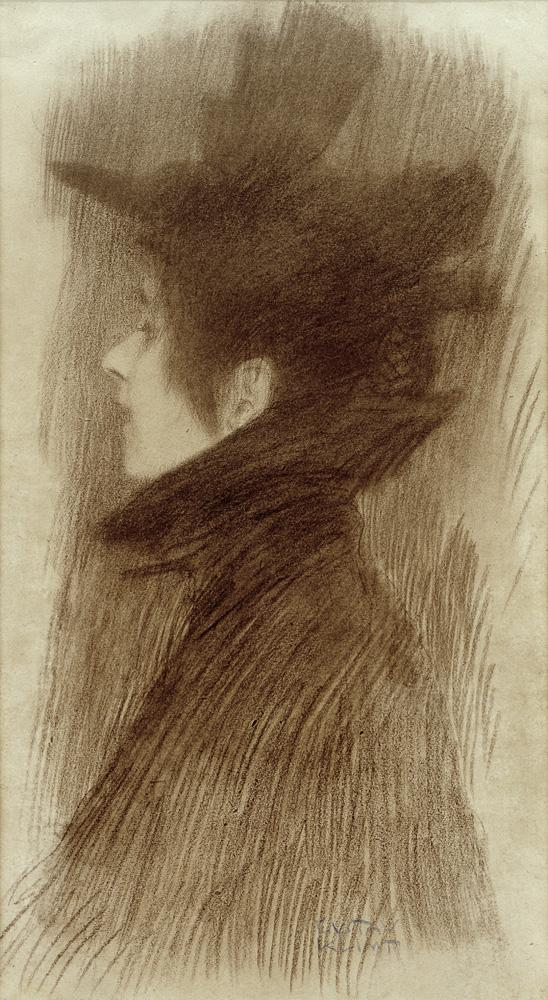 """Gustav Klimt """"Mädchen mit Hut und Cape im Profil"""" 22 x 42 cm"""