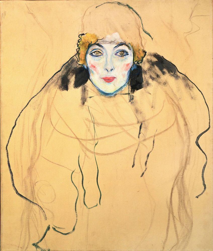 """Gustav Klimt """"Damenbildnis en face (Frauenkopf)"""" 56 x 67 cm"""