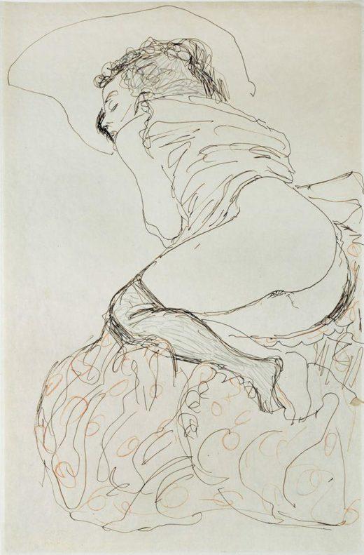 """Gustav Klimt """"Liegender Halbakt nach links"""" 37 x 56 cm 1"""