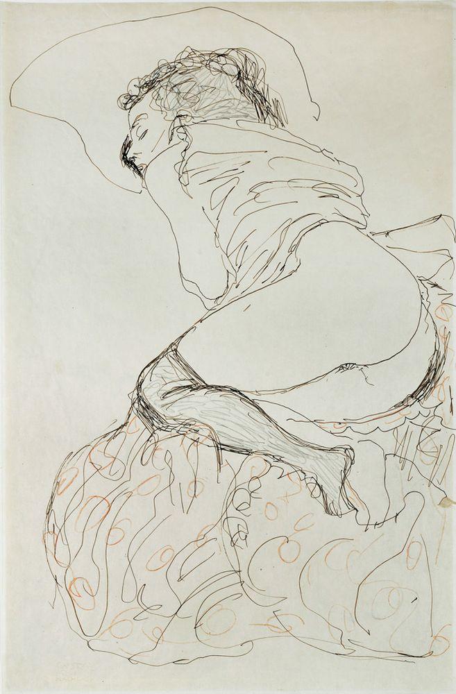 """Gustav Klimt """"Liegender Halbakt nach links"""" 37 x 56 cm"""