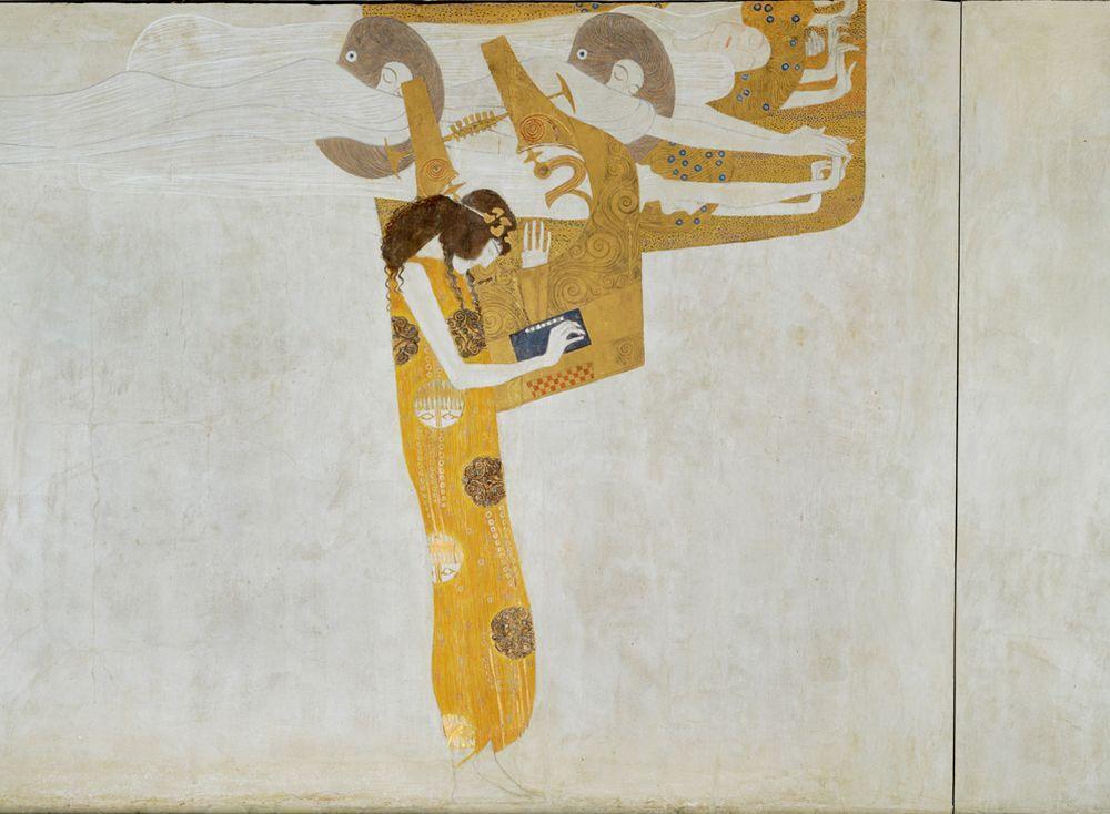"""Gustav Klimt """"Beethovenfries – Die sehnsucht nach Glück findet Stillung in der Poesie (Ausschnitt)"""" 1381 x 220 cm"""
