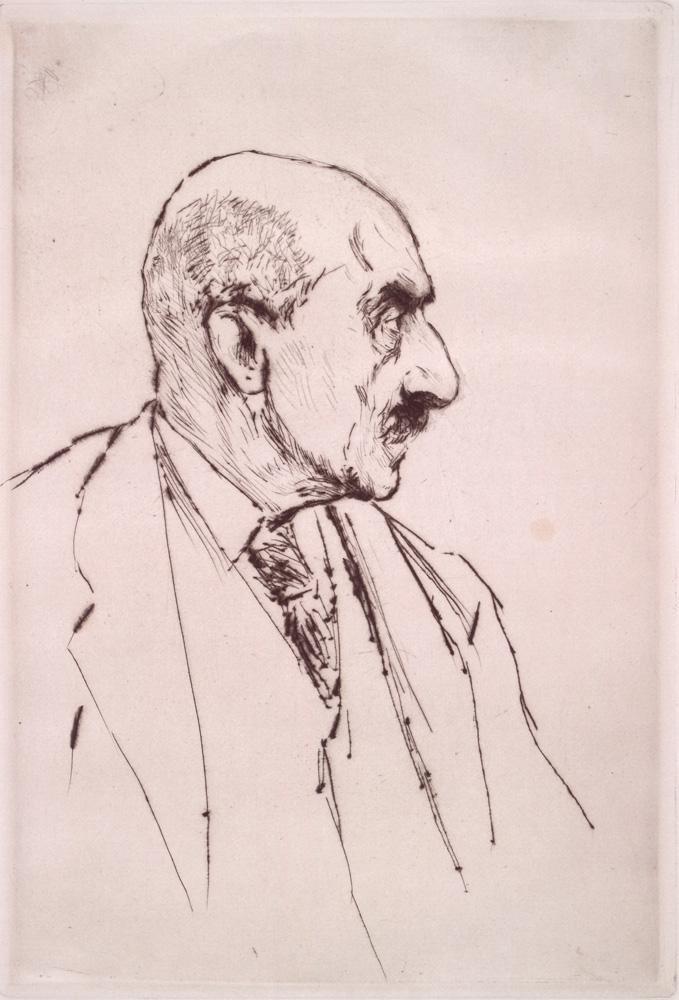 """Max Liebermann """"Selbstbildnis des Künstlers im Profil nach rechts"""" 17 x 25 cm"""