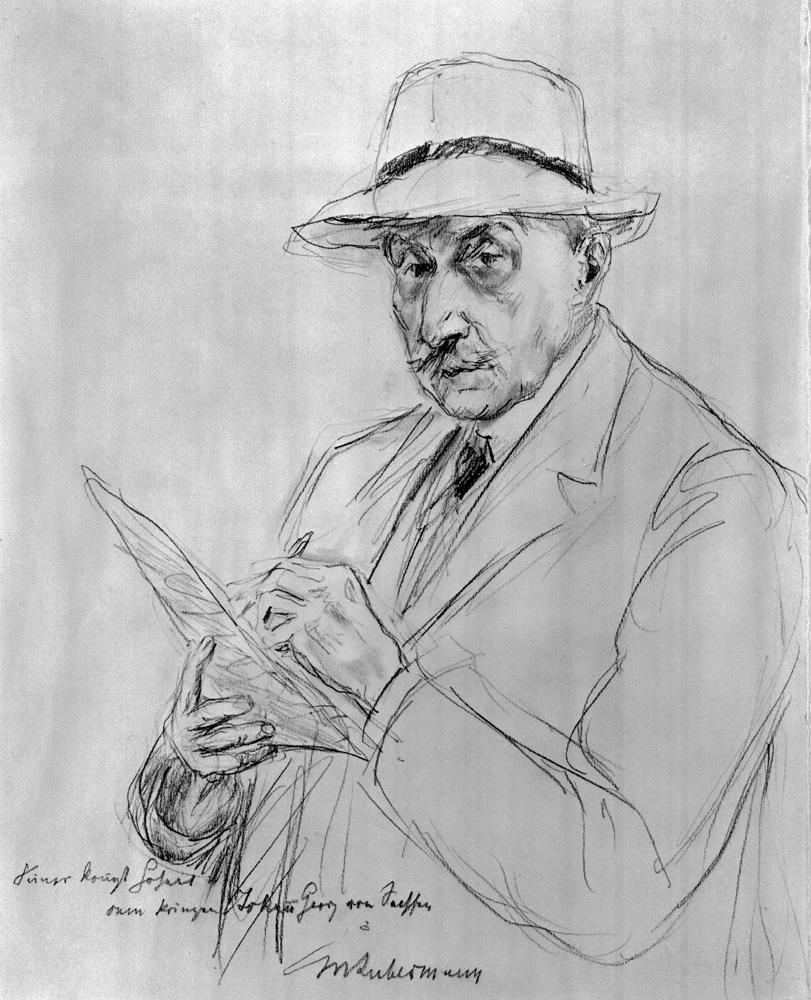"Max Liebermann ""Selbstbildnis mit Panamahut"" 25 x 31 cm"