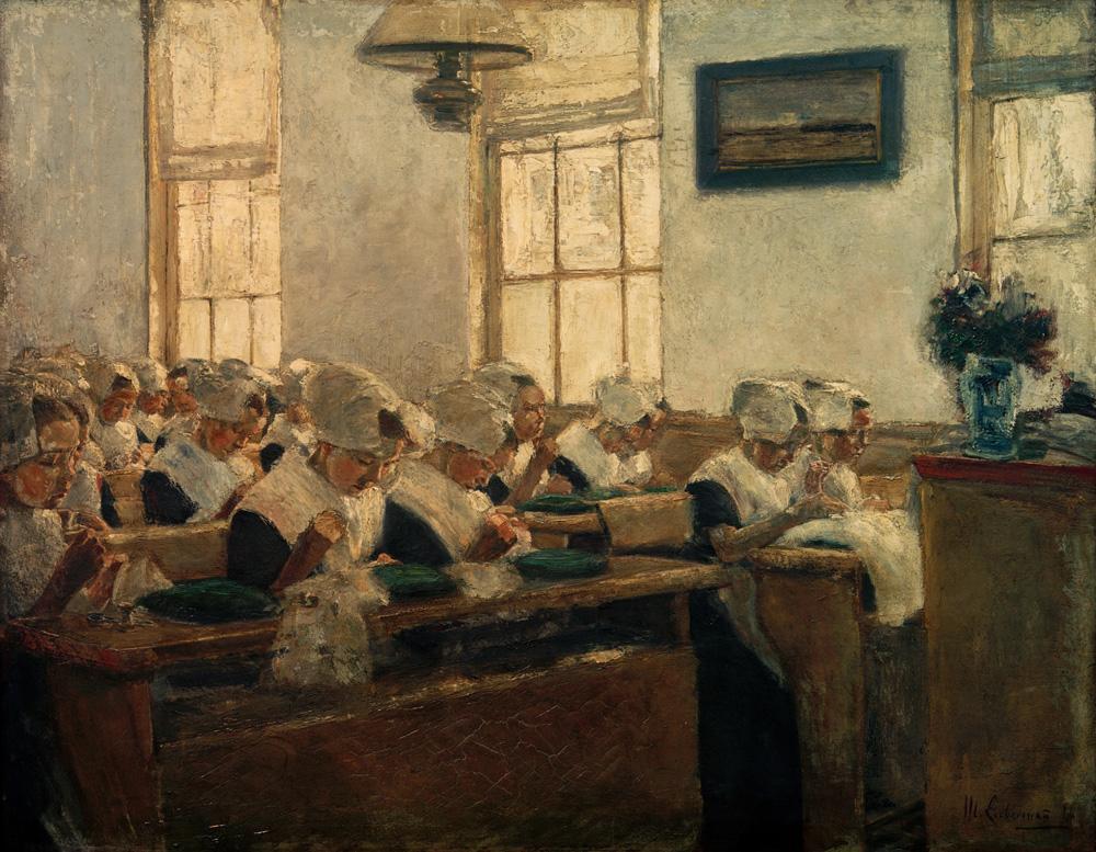 "Max Liebermann ""Nähschule im Amsterdamer Waisenhaus"" 81 x 65 cm"