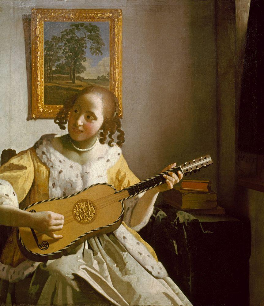 """Jan Vermeer """"Gitarrespielerin"""" 46 x 53 cm"""