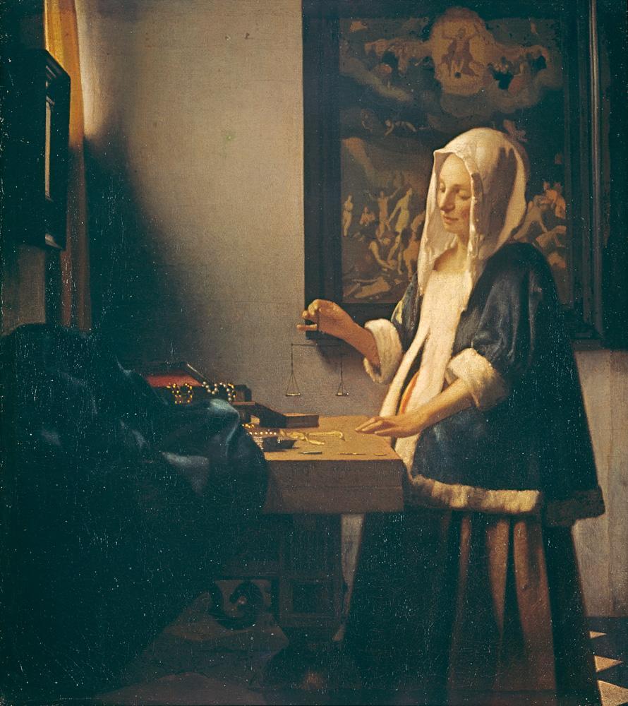 """Jan Vermeer """"Die Perlenwägerin"""" 36 x 40 cm"""