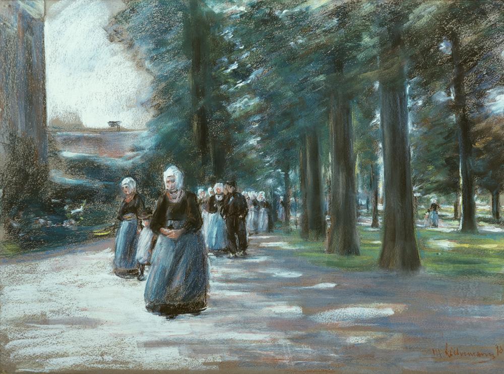 """Max Liebermann """"Kirchgang in Laren"""" 78 x 56 cm"""