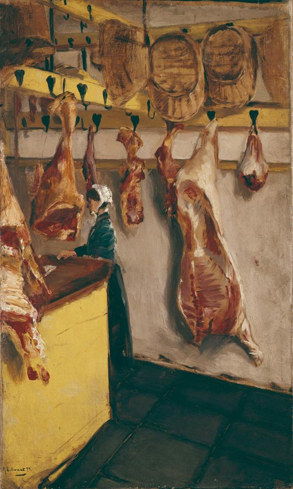 """Max Liebermann """"Schlächterladen in Dordrecht"""" 43 x 71 cm"""