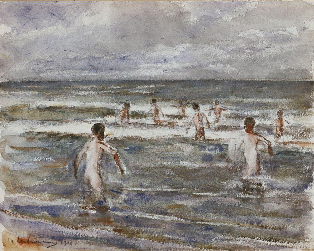 """Max Liebermann """"Badende Knaben"""" 36 x 30 cm"""