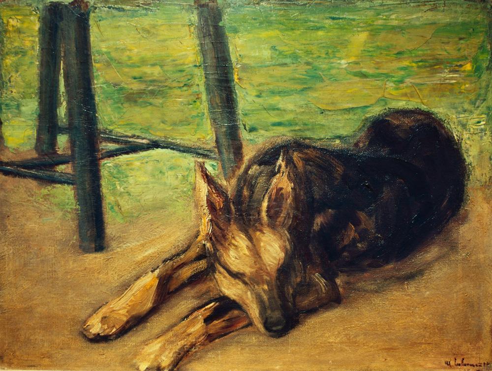 """Max Liebermann """"Schlafender Schäferhund"""" 65 x 51 cm"""