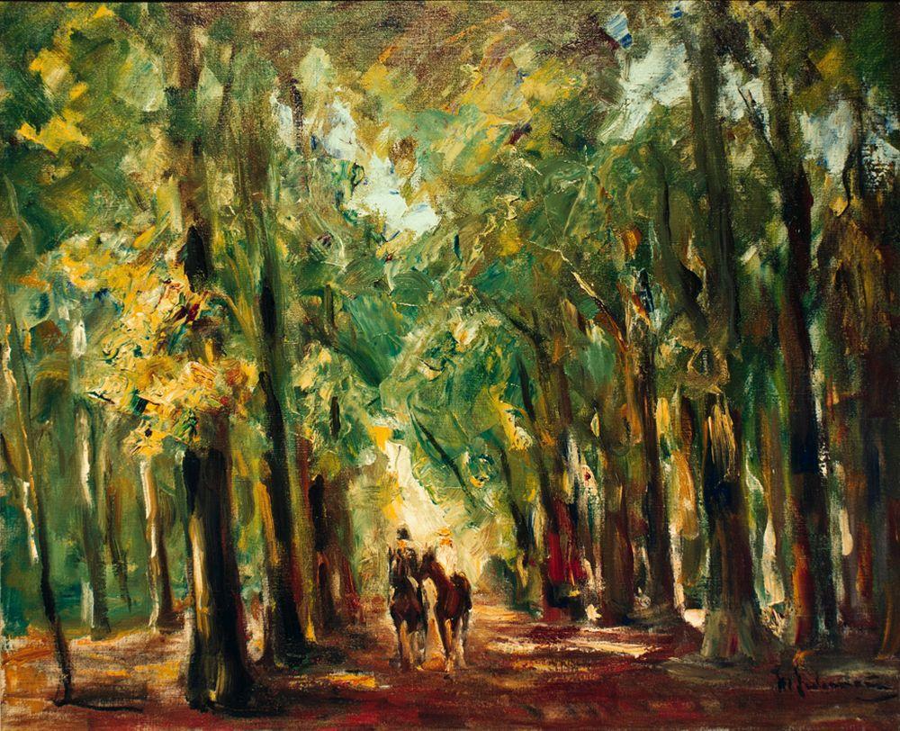 """Max Liebermann """"Reiter im Tiergarten"""" 73 x 60 cm"""